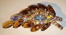 Juliana Jewelry Aurora Borealis Cabochon Brooch Pin Gold Tone Vintage 00224