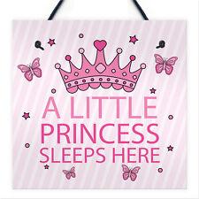 Princess Sleeps Plaque Door Nursery Bedroom Sign Gift Baby Girls Fairytale Decor