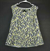 Worthington Women's 1X Sleeveless Button Back White/Green/Black Blouse Top