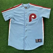 MLB Majestic Cooperstown Collection Mike Schmidt Throwback Vtg Phillies Jersey L