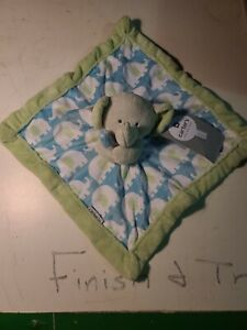 Carter's Gray Elephant Lovey Green Blue Turquoise Baby Blanket Security Toy B8
