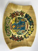 Hawaii 50th State Tray Woven Bamboo Souvenir Aloha