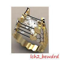 Unique Women Men 18K Gold Hollow Gemstone Ring Wedding Engagement Jewelry Rings