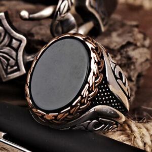 Aqeeq Men Statement Ring Green Agate Natural Gemstone Unique Silver Wedding Gift