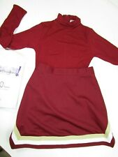 New Child Cheerleader Uniform Outfit Costume Maroon Leotard Top Skirt 8/10 Yth M