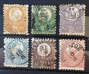 HUNGARY 1871 Used Complete Set of 6 Stamps Unchecked for Types