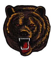 ab96 Grizzlybär Bär Braunbär Zoo Bear Raubtier Aufnäher Bügelbild 8,5 x 9,2 cm