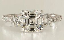 Solid 14K White gold 2.66 ct Asscher cut Anniversary Diamond Engagement Ring