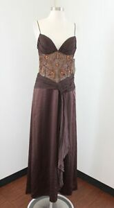 NWT Dave and Johnny Brown Bronze Beaded Mesh Evening Formal Dress 7 / 8 Silk