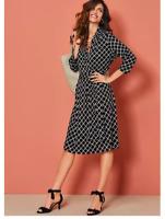 Versatile Slinky Jersey Black Check Pattern Wrap Bodice Dress With pockets sz 14