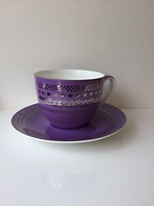T2 Jumbo Cup Saucer Lilac Silver Star Design