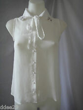 Tra-fa-luc White Sheer Sleeveless, Beaded Collar Shirt Size S BNWT