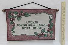 Wall Hanging Tapestry Woman Looking For Husband Ribbon Hanger With Wooden Dowel