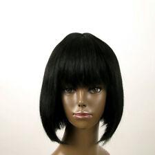 perruque afro femme 100% cheveux naturel mi longue noir ref JACKIE 01 1B