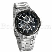 Men Charm Classic Business Casual Stainless Steel Band Quartz Analog Wrist Watch