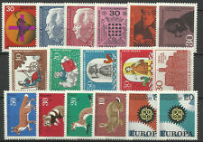 WEST GERMANY 1967 COMPLETE YEAR STAMP COLLECTION 17 Values Mint Never Hinged