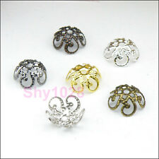 100Pcs Hollow Filigree Bead Caps 10mm Silver/Gold/Bronze/Black R5036