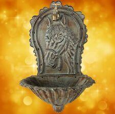 Wall Fountain Grünfarbig Horse Head Garden Water Iron Cast House + Decorative