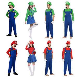 Mens Women Adult Kids Super Mario Luigi Bros Cosplay Fancy Dress Outfit Costume