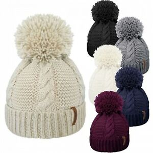 Womens Cable Knit beanie Hat Knitted Woollen Winter Pompom Skull Beanie Cap