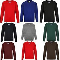 Boys Girls Unisex School Uniform V Neck Jumper Sweatshirt Plain Pull Over