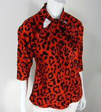 COREY LYNN CALTER LONG SLEEVE TWISTED NECKLINE BLOUSE SIZE 2 BLACK RED