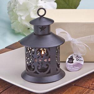 1 Beautiful Black Tea Light Candle Holder Lantern Wedding Favor Beach Americana
