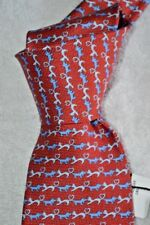 """$215 NWT BULGARI Red White blue DOGS & CATS 7 fold 3.4"""" printed silk tie ITALY"""