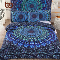Bed in a Bag Bedding Set Twin Full Queen King Blue Mandala Quilt Cover Exotic Pa