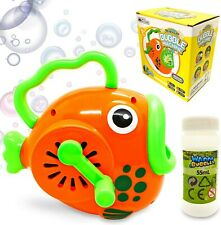 Kids Fish Bubbles Blower Wands Toys for Toddlers with Big Bubble Solution Refill