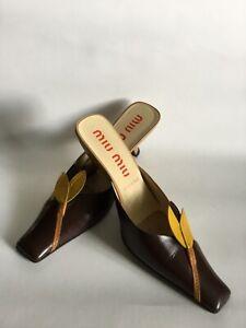 Miu Miu Multicolor High HeelLeather Mule Pump Size 37.5/ US 7.5 Made In Italy