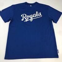 Majestic Kansas City Royals Shirt Men's XL Short Sleeve Blue Crew Neck Polyester