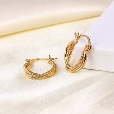 """9K 9ct Yellow """"GOLD FILLED"""" Girl Three Layers Oval Small Hoop Earrings.19mm Gift"""