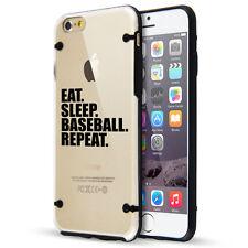 For iPhone SE 5s 6 6s 7 Plus Clear TPU Hard Case Cover Eat Sleep Baseball Repeat
