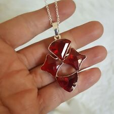 """Red  Austrian Crystal Geometric Boho Detail Sterling Silver 925 Necklace 18"""""""
