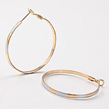 """Very Pretty New 14K Yellow & White Gold Plated Smooth Round 1.75"""" Hoop Earrings"""