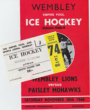 1968 Wembley Lions v Paisley Mohawks (30/11/68) + Ticket - Final Lions Game Ever