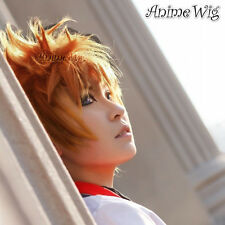 Kingdom Hearts Roxas Arancione ANIME Party Corto a Strati Uomo Parrucca di capelli cosplay