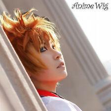 Kingdom Hearts Roxas Orange Anime Party Short Layered Men Cosplay Hair Wig