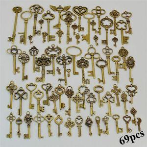 69pcs Antiqued Brass Skeleton Keys Bottle Openers Mix Wedding Favor Decorations