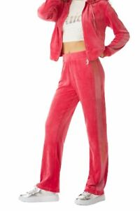 Juicy Couture Women's Ombre Crystal Stud Stripe Velour Track Pant, Pink Party