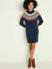 Old Navy Women's Fair Isle Sweater Dress Size XL Blue Long Sleeve Knit NWT