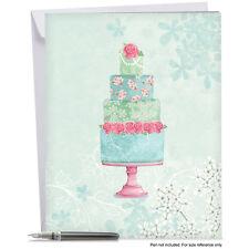 J2984FWDG Jumbo Wedding Card: WATERCOLOR CAKE With Envelope large greeting cards