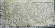 1787 ANTIQUE DATED ASTRONOMY PRINT NORTHERN & SOUTHERN HEMISPHERE CONSTELLATIONS