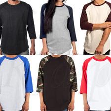 Baseball Raglan T Shirt 3/4 Short Sleeve Men Women Camo Plain Solid Jersey Tee