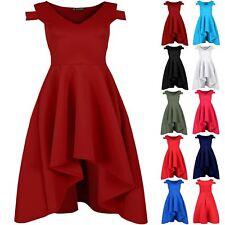 Plus Size Ladies Womens V Plunge Cold Shoulder Hi Lo Dip Hem Skater Swing Dress