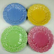 "Barbara Eigen Ceramic Flower Plates 8.25"" Dessert Salad Set of 4 Marigolds"