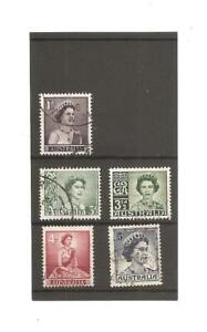 5 Australia Queen Elizabeth II Pre-decimal Stamps. 1959 Used.