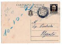 C.P. cent 30 Risposta - Fli C 83 - Annullo muto - viaggiata per Ugento nel 1939