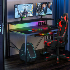 More details for led gaming desk 2 layer carbon fibre pc computer table home racing ergonomic 41
